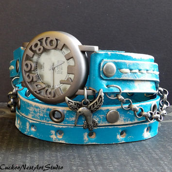 Chevy Blue Womens Cuff, Wrap Watch,  Womens leather watch, Bracelet Watch, Chain Wrist Watch, Distressed Fashion Watch with bird charm