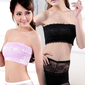 Black White Pink Womens Girl Lady Tank Top Camisole Tube Soft Lace Strap Strapless Crochet Crop Bra Sexy Inner Wear B012