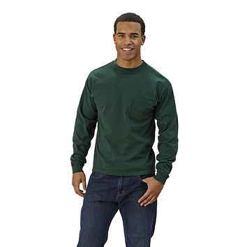Adult Long Sleeve Crew Neck w/Pocket Classic Fit