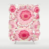 Flowery Pink and White Shower Curtain by Jennifer Warmuth Art And Design