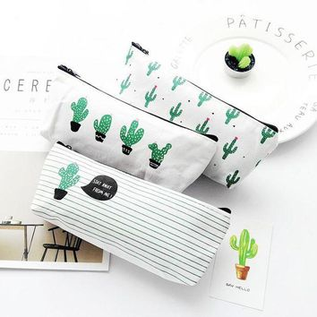 DCCKU7Q Cactus Canvas Pencil Case