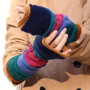 Hipster fingerless gloves Long boho arm warmers Hippie multicolour knitted women wrist warmers Gift for her