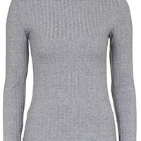 Ribbed Funnel Neck Top - Grey Marl
