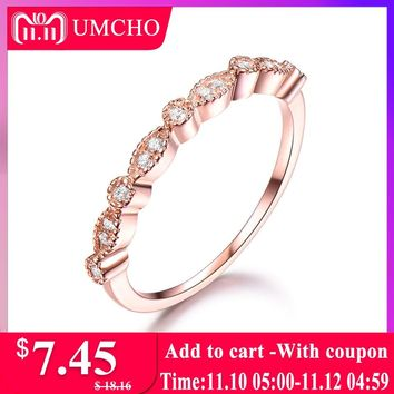 UMCHO Solid 925 Sterling Silver Rings For Women Stacked Band Rose Pink Wedding Engagement Bridal Set Brand Fine Jewelry Gift