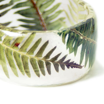 Green Fern Bracelet- Green Bangle- Green Bracelet- Resin Jewelry- Green Resin Jewelry- wholesale jewelry - Flower Bangle
