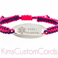 Custom Engraved Medical Alert / Medical ID Bracelet for Any Conditon - Micro Paracord Bracelet with Adjustable Macrame / Shambala Closure