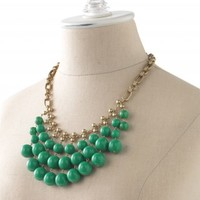Vintage-Inspired Kelly Green & Gold Bib Necklace | Jolie Necklace | Stella & Dot