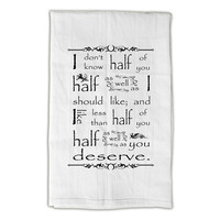 "The Hobbit Large Tea Towel, J.R.R. Tolkien, Large 33"" x 38"" Premium Flour Sack Towels, 100% cotton, hemmed on all 4 sides"