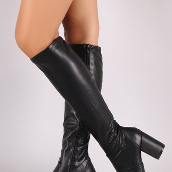 Bamboo Leather Almond Toe Block Heeled Knee High Boots