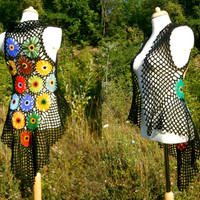 Rainbow Flower Vest - Upcycled Sweater - Eco Friendly Clothing - Hippie - Recycled Crochet