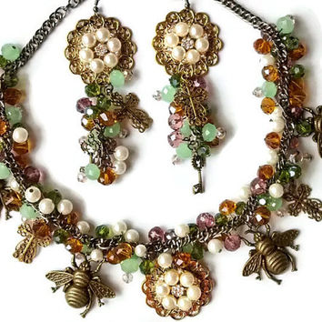 Woodland necklace set, bee necklace, fantasy chunky crystal necklace, fairytale jewelry set, steampunk jewelry, green crystal necklace