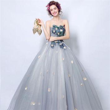 Prom Gown Simple Lace Flower Pattern Embroidery Prom Dresses Evening Dress