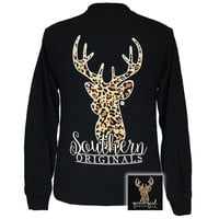 Girlie Girl Originals Preppy Leopard Deer Long Sleeves T Shirt