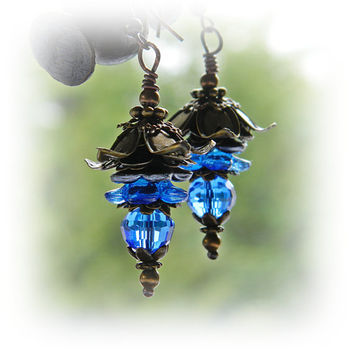 Gentian Blue Flower earrings  Boho Statement earrings Blue Flower dangles Brass earrings, Bohemian jewelry, Hippie, Gypsy Botanical jewery