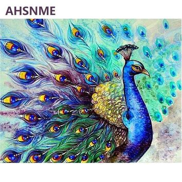 AHSNME 40x50cm Blue peacock Diy Oil Painting By Numbers Kits Wall Art Picture Home Decor Semi-finished oil painting