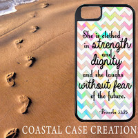 Colorful Chevron Proverbs 31:25 Bible Verse Quote Apple iPhone 4 4G 4S 5G Hard Plastic Cell Phone Case Cover Original Trendy Stylish Design