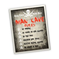 Man Cave Rules Decor - printable sign wall art mancave sign picture art PRINTABLE for rec room or garage for men instant download
