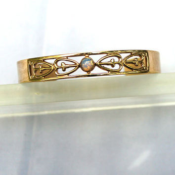 Avon Gold Cuff Bracelet - Cut Out Hearts and Faux Opal