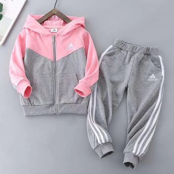 Adidas Girls Boys Children Baby Toddler Kids Child Fashion Casual Cardigan Jacket Coat Pants Trousers Set Two-Piece
