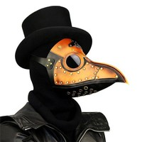 DCCKH6B Takerlama Vintage Steampunk Plague Doctor Masks PU Leather Birds Beak Masks Gothic Masquerade Ball Masks Halloween Cosplay Props