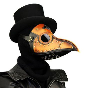 LMFON Takerlama Vintage Steampunk Plague Doctor Masks PU Leather Birds Beak Masks Gothic Masquerade Ball Masks Halloween Cosplay Props