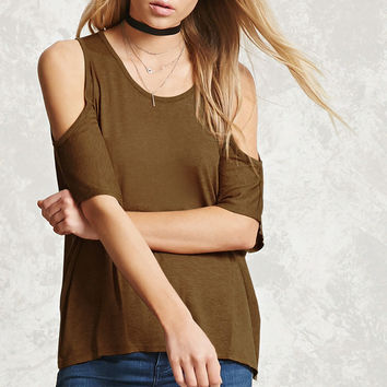 Marled Open-Shoulder Dolman Top