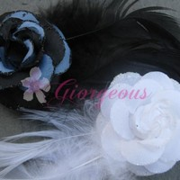 Flower Feather Clip by ItsGiorgeous on Etsy