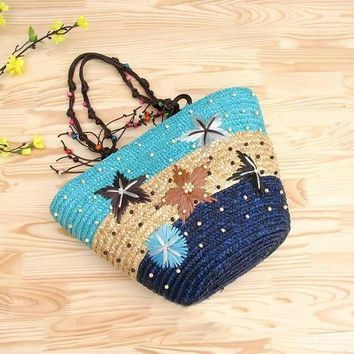 Large Straw Starfish Tote Bag