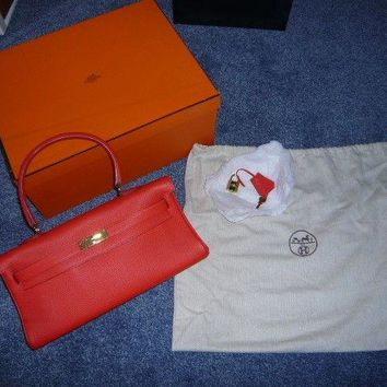 HERMES Shoulder Kelly, Coral Red, Used once only, dust bag and box