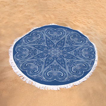 Round Beach Towel Navy Blue Mandala  Boho Bohemian Large Beach Blanket India Indian Pattern Dark Classic Blue