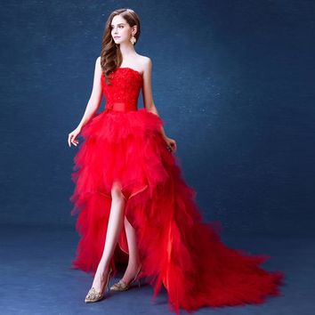Luxury Red Evening Dresses Short Front Long Back Tiered Tulle Strapless Floral Lace Prom Gowns