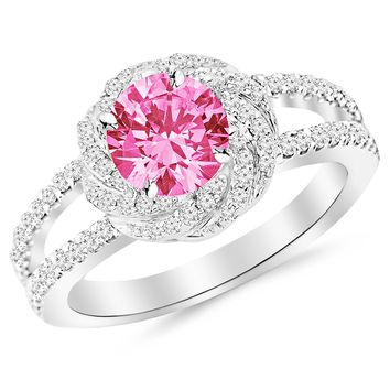 CERTIFIED | Pave Set Halo Style Floral Split Shank Diamond Engagement Ring with a 0.75 Carat Pink Sapphire Heirloom Quality Center (Platinum, Yellow, White, Rose)