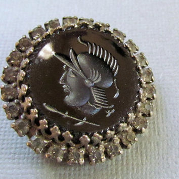 Black Intaglio Brooch Roman Warrior Rhinestone Pin
