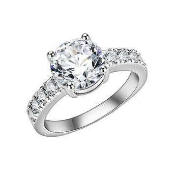 True Love - Women's Rhodium Plated Brass Solitaire Clear CZ Ring