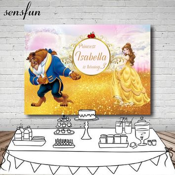 Princess Beauty And The Beast Birthday Party Photography Backdrop Gold Glitter Children Backgrounds For Photo Studio 7x5FT