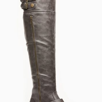 Bamboo Zipper Accent Grey Rider Boots @ Cicihot Boots Catalog:women's winter boots,leather thigh high boots,black platform knee high boots,over the knee boots,Go Go boots,cowgirl boots,gladiator boots,womens dress boots,skirt boots.