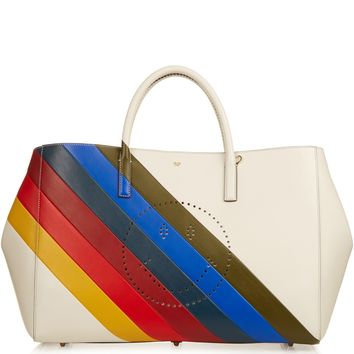 ANYA HINDMARCH Rainbow-stripes smiley leather tote