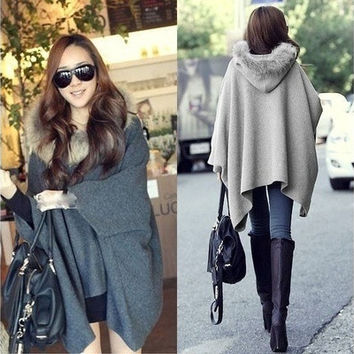 Casual Womens Cape Black Batwing Wool Poncho Jacket Lady Winter Warm Cloak Coat = 1945990212