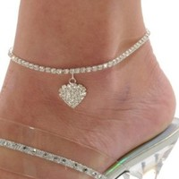 Rhinestone Stretch Anklet Bracelet Heart Charm Austrian Crystal Ankle Clear Sizes: One Size