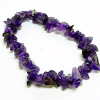 Polished Amethyst Bracelet - Gemstone Chips - Stretch Style