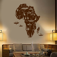 Vinyl Wall Decal Africa Continent African Natives People Map Stickers Unique Gift (1467ig)