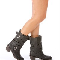 Black Strappy Buckle Booties