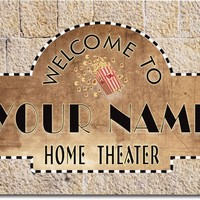 Personalized Custom Home Theater Stretched Canvas Print Decor Sign