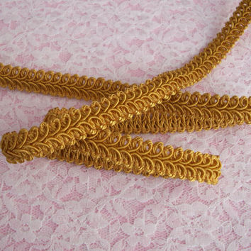 "2 YARDS,Yellow Gold,Woven Braid Gimp Trim, 1/2"" wide,Home Decor,Embellishments,Upholstery,   Decorative Pillows,Lamp Shade Trim,Scrapbooking"
