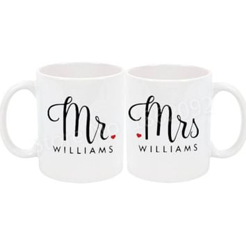Modern Mr Mrs Mug Set Personalised Mr Mrs Coffee Mug Couple Tea Cup