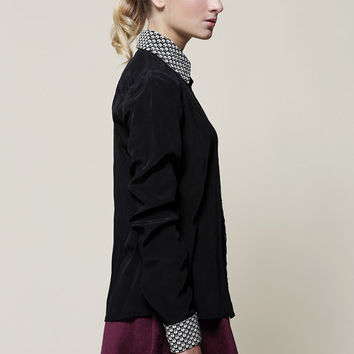 womens blouse, Long sleeve shirt , Winter top, Black shirt, Black blouse, Women shirt, Collared blouse, Button down shirt, Elegant top