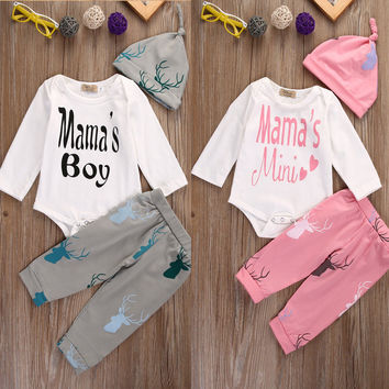 MAMA'S Infant Baby Boys Girls 3Pcs Outfit Romper Long Sleeve Xmas Clothing Pants Casual Hat Babygrow Clothes