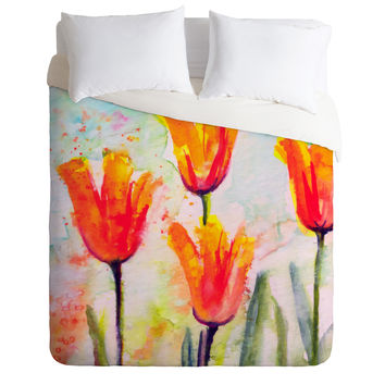 Ginette Fine Art Tulips Bells Of Spring Duvet Cover