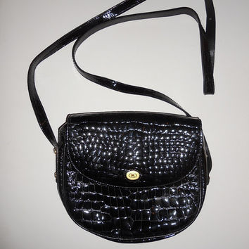Vintage 80s Italian Black Patent Leather Evening Purse Long Strap F.B.M