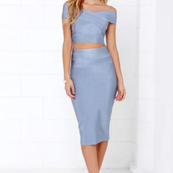 Some Like it Bardot Blue Grey Two-Piece Dress